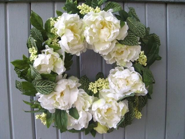 Spring Wreath Wedding Wreath White Wreath Floral Wreath