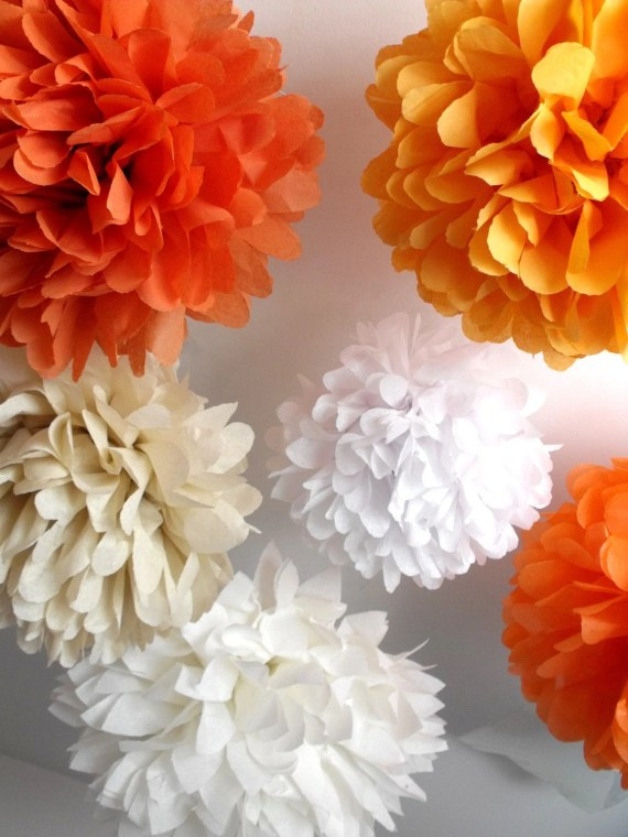 Paper pom poms ... 6 poms ... Carrot cake // DIY kit // autumn fall wedding // birthday decor // party decorations // halloween decoration