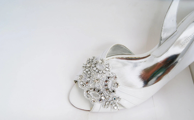 Rhinestone Applique Bridal Shoe Clips