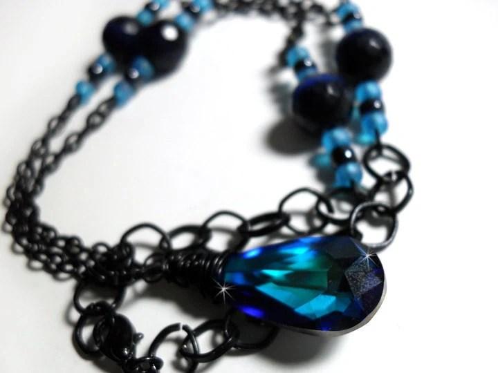Dark Blue Swarovski Crystal Teardrop Wire Wrapped Necklace - Glamour365