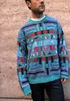 Southwest Fair Isle Bright Navajo Style Sweater Pullover