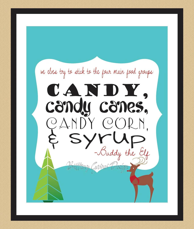 Elf Food Groups Buddy The Elf Holiday Art Print