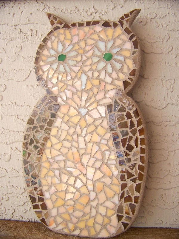 Stained Glass Mosaic Owl Wall Art Wall Hanging by bluewaveglass