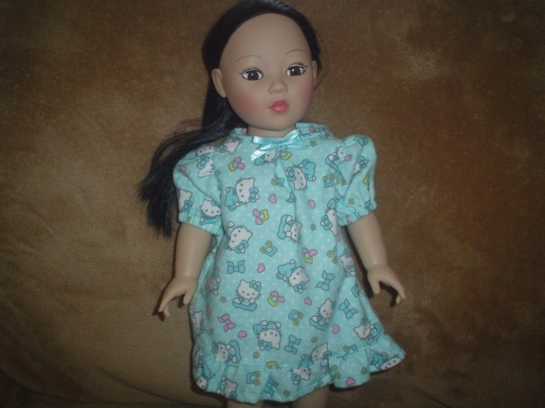 Nightgown pajamas for American Girl doll and her 18 inch doll