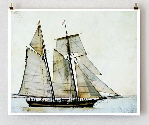 ship photography, sail boat, sailing, ocean, textures, nursery art