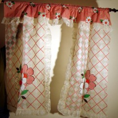 Red Kitchen Valance Yellow Mat 1950s Like New Vintage Kitsch Plastic Curtains In