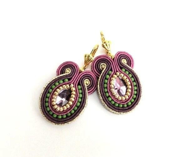 Statement  soutache hand embroidered earrings, purple, green, golden - SALE - mintESSENCE