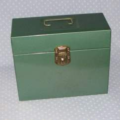 Green Fishing Chair Slipcovers T Cushion 2 Piece Metal Lock Box File Storage Vintage Industrial With Key