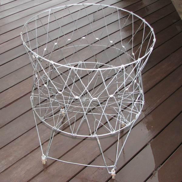 Large Vintage Wire Laundry Hamper Basket Wheels