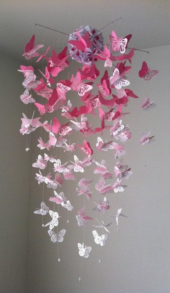 Lustre papillon monarque Mobile mlange rose et blanc
