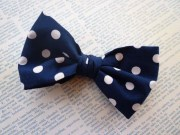 men's navy blue big dot bow tie