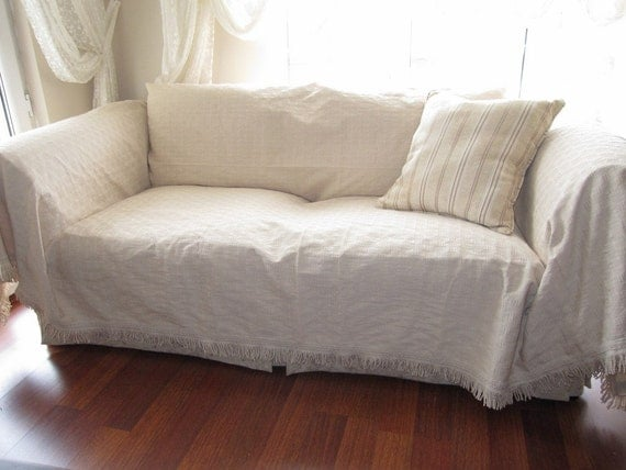 Large Sofa Throw Covers Rectangle Tassel Ivory Couch