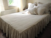 Oatmeal linen drop ruffle skirted Bedspread/Bed skirt/bed ...