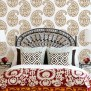Indian Paisley Wall Stencil For Ethnic Wallpaper Look On Walls