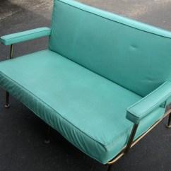 Howell Sofa Distressed Brown Leather Uk Sale Mid Century Modern Turquoise Vinyl Loveseat Eames Era