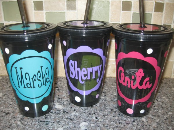 Personalized Withname In Scallop Acrylic Tumbler Polka