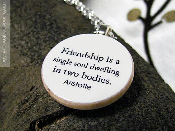 Items Similar To Aristotle Friend Quote Necklace