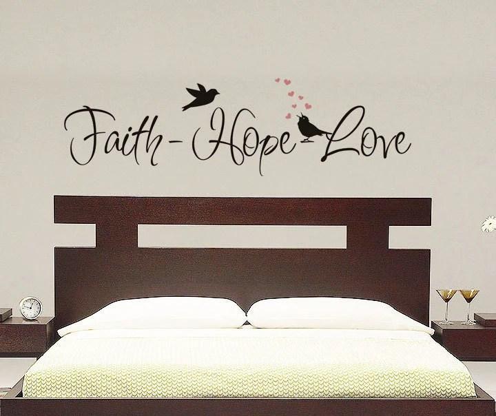 Faith Hope Love Wall Decal Vinyl Decal by VillageVinePress