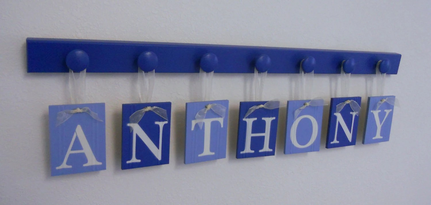 Baby Boy Nursery Decor Hanging Wall Letters Name ANTHONY with