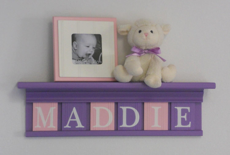 Purple Pink Nursery Decor Baby Girl Nursery Wall Art Shelf