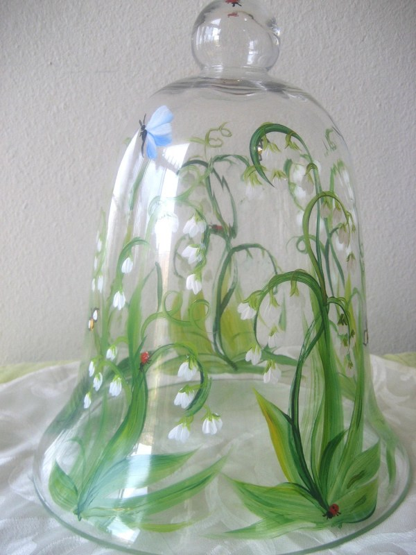 Glass Bell Jar Cloche Handpainted With Lily Of Valley