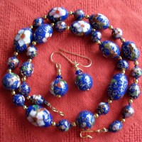 Cobalt Blue Cloisonn & 14K Gold Filled Necklace Earrings Set