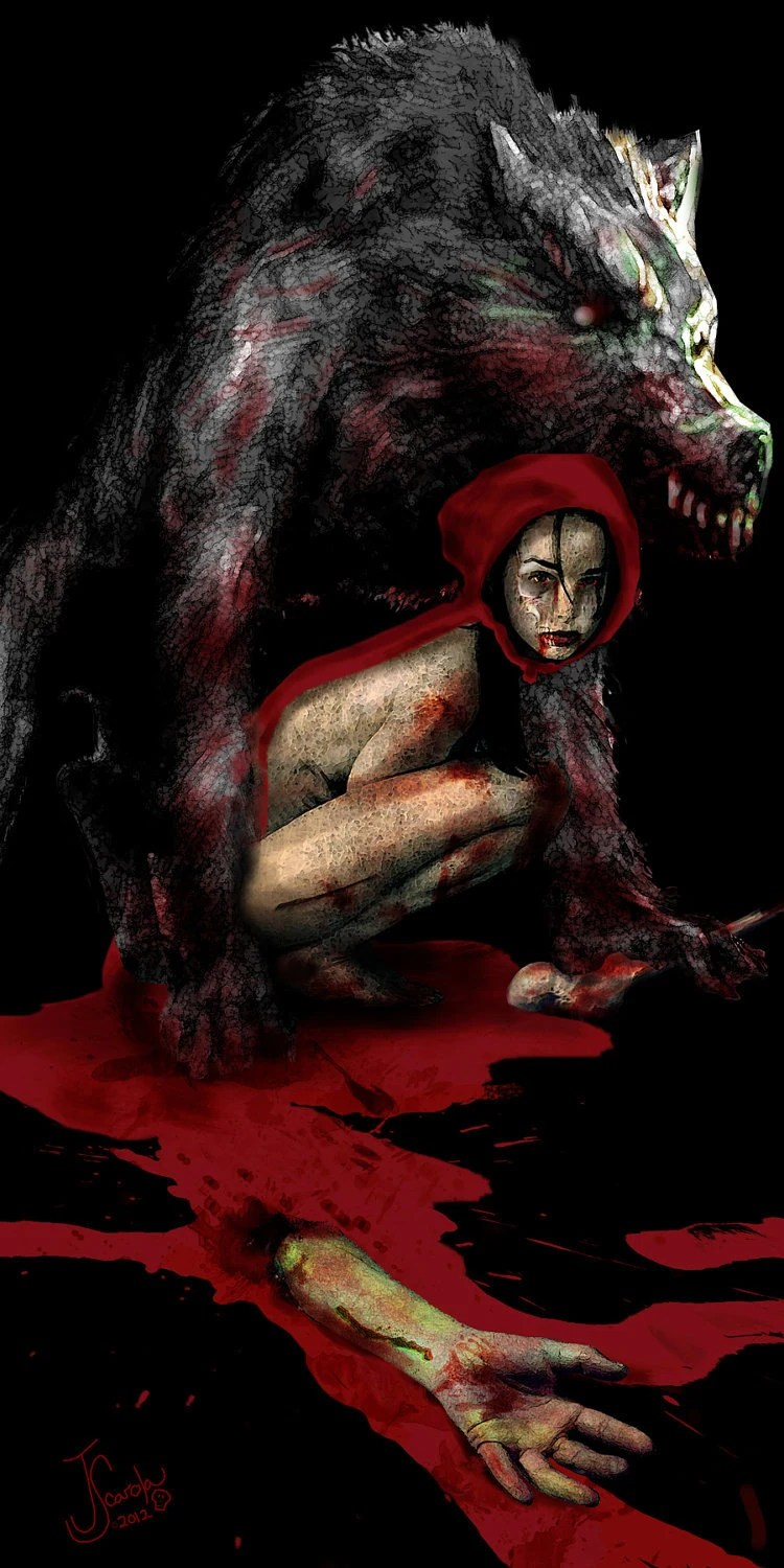 Undead (Red) Riding Hood Original digital painting Lustre Photo Art Print 11x22 - popskullture