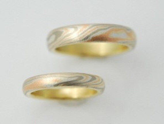 Tri Color Mokume Gane Wedding Bands Two Ring by