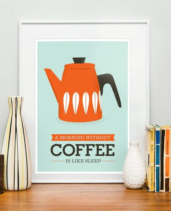 Kitchen art Print Coffee Cathrineholm retro mid century