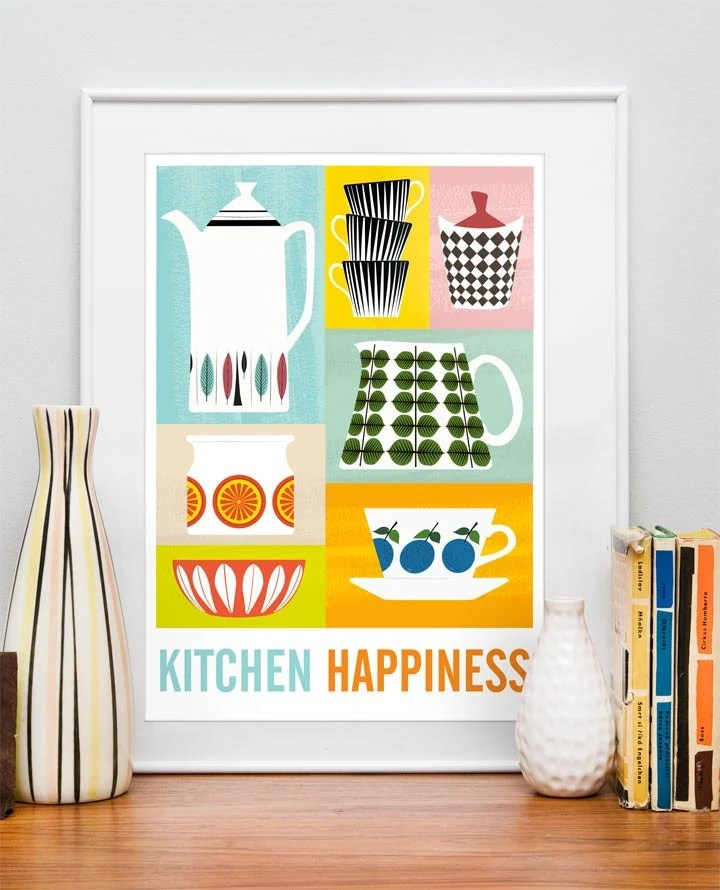 Kitchen Print poster Mid century poster art for kitchen