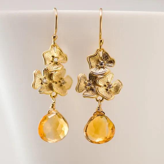 November Birthstone Earrings Citrine Earrings Swarovski