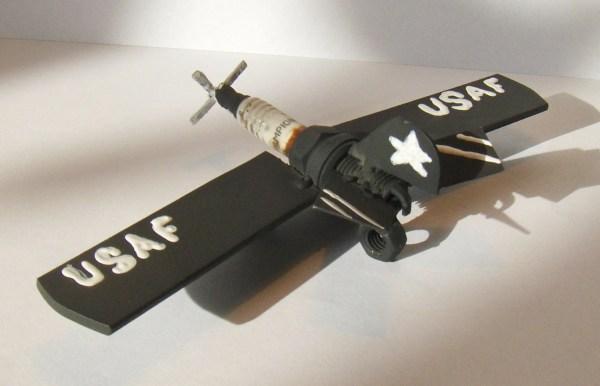 Metal Spark Plug Airplane Art