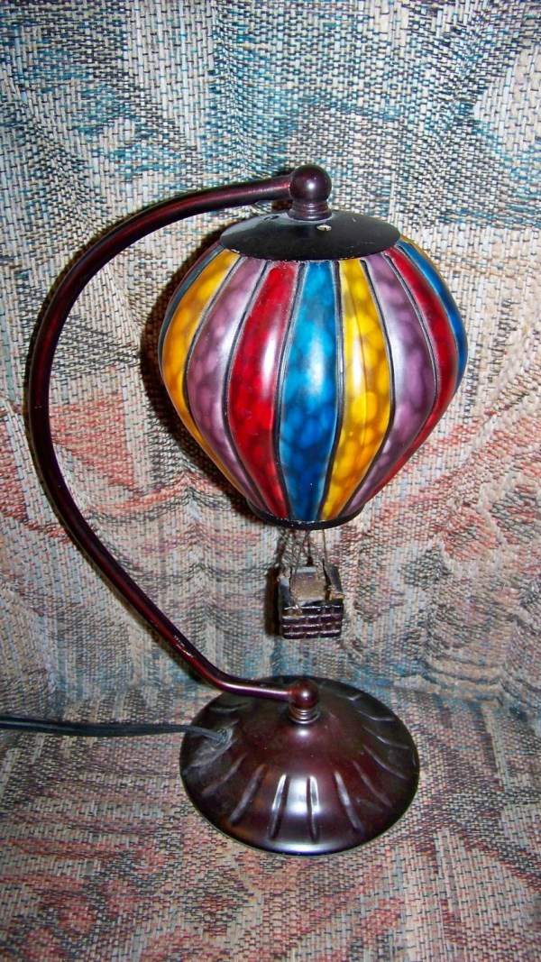 Vintage Hot Air Balloon Stained Glass Lamp