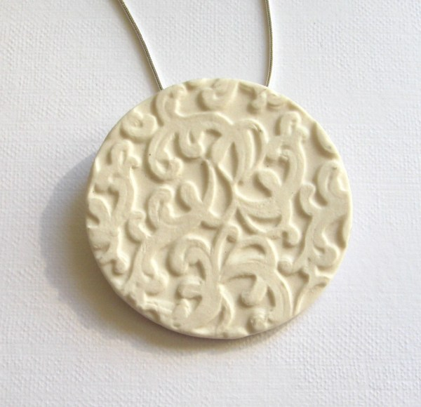Porcelain pendant bisque textured ceramic necklace snake chain