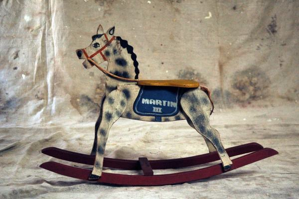 Antique Painted Wooden Rocking Horse