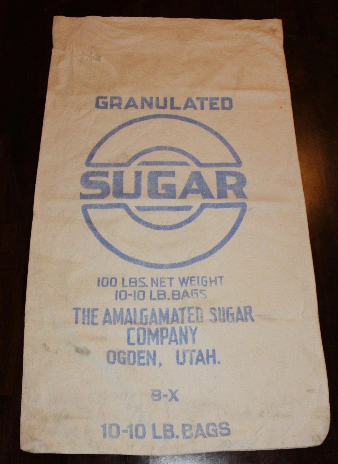 SALE Vintage 100 lb Sugar Sack Cotton Sack Granulated Sugar