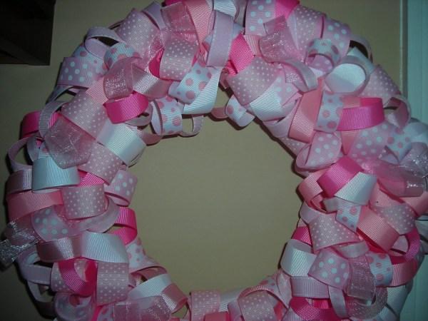 Pink Ribbon Wreath Baby Girl Ready Ship