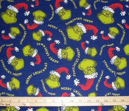 Grinch Christmas Flannel Fabric 1 Yard On Navy