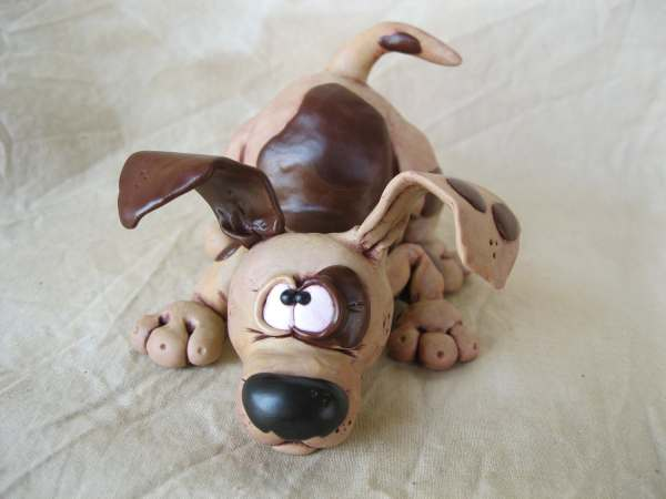 Dog Polymer Clay Sculpture Spot Mirandascritters