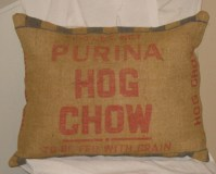 Large Pillow Vintage Burlap Feed Sack Handmade By Me