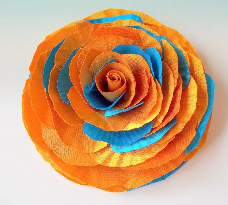 Orange Turquoise Blue Rose Brooch Or Hair Pin