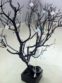 30 Black / Painted Tree Jewelry holder with Flowers