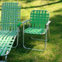 Vintage Webbed Lawn Beach Chair Folding Aluminum Bright Green