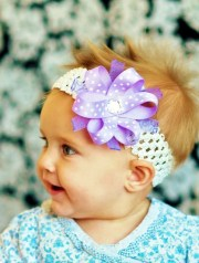 baby girl hair bowith lavender ribbon