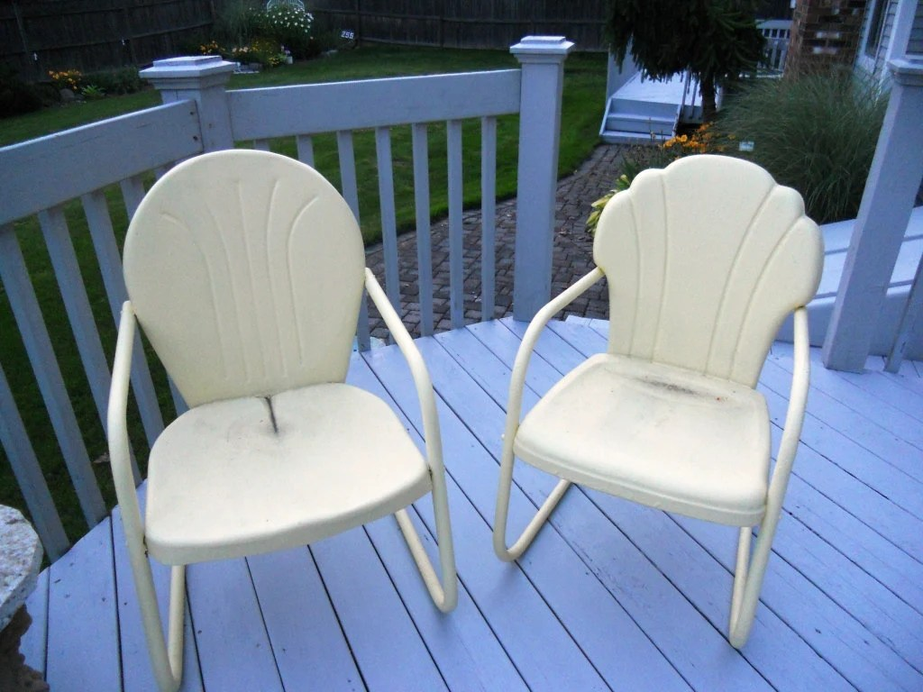Retro Lawn Chairs Vintage 1950 39s Metal Patio Lawn Chairs By Thebeezkneezvintage