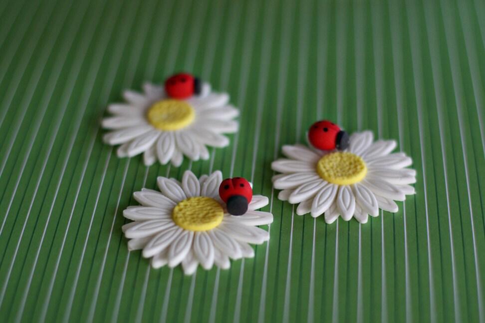Fondant Daisy with Ladybug Flower Cupcake Cookie or MiniCake