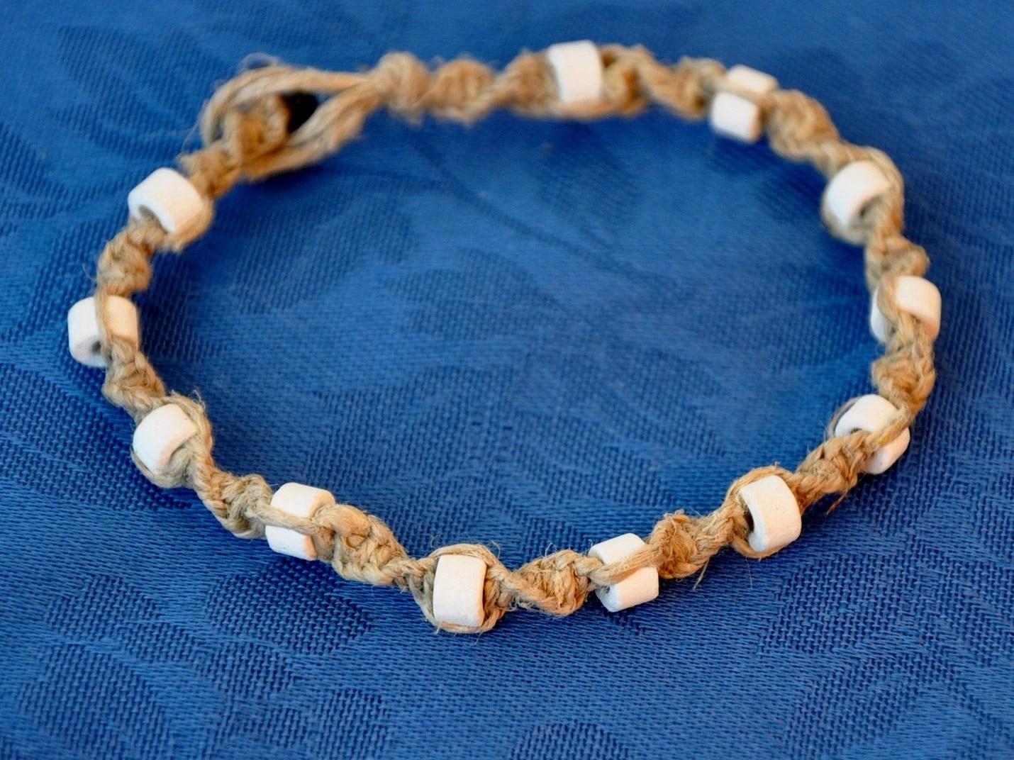 Spiral Hemp Bracelet/Anklet with White Beads