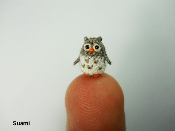 Miniature Crochet Owl - Micro Mini Amigurumi Grey Owl - Made To Order