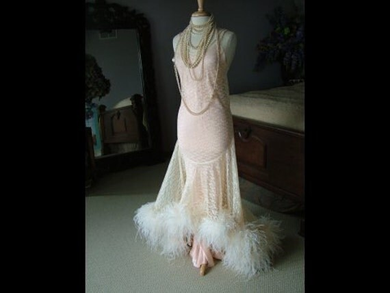1920s Inspired Wedding Dress Evening Gown Bridal Gown Oozing