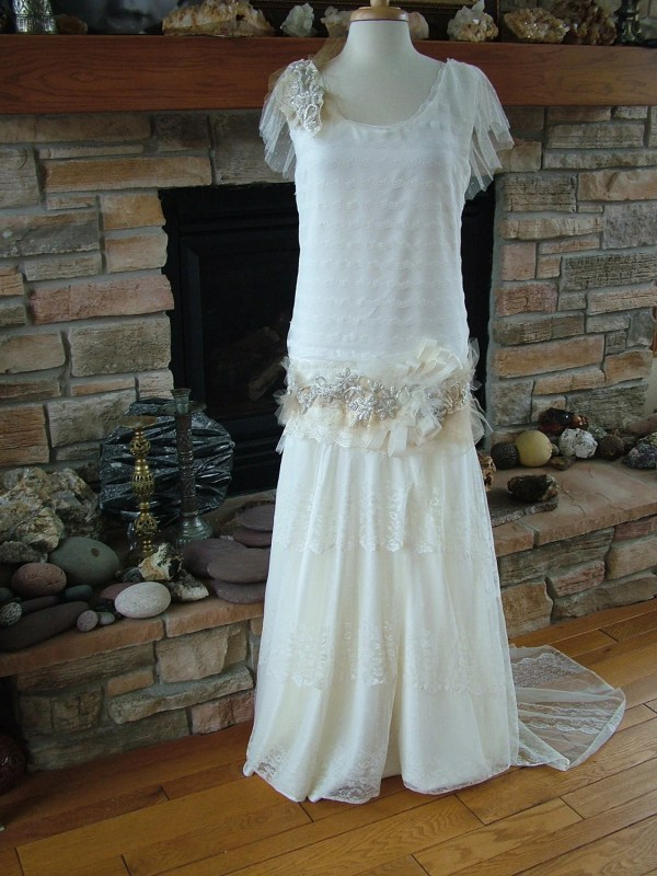 Original 1920s Inspired Wedding Dress Flapper Gown Beaded